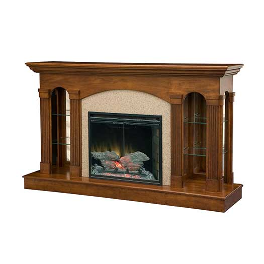 Amish USA Made Handcrafted Curio Fireplace sold by Online Amish Furniture LLC