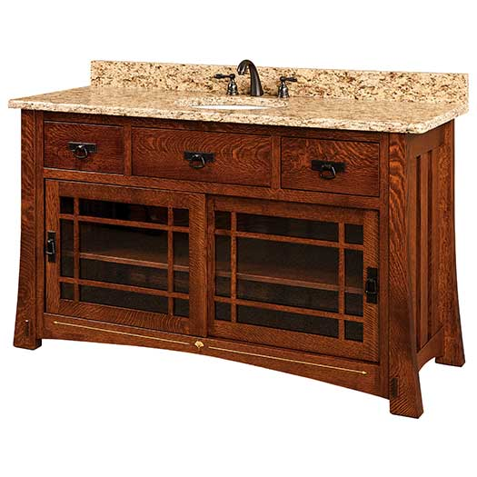 Amish USA Made Handcrafted Morgan 60 Vanity - With Inlays sold by Online Amish Furniture LLC