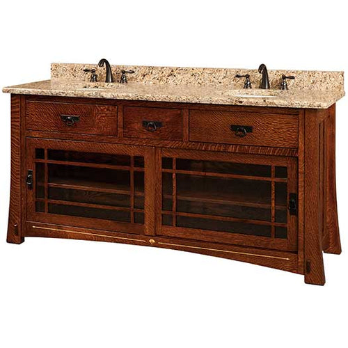Amish USA Made Handcrafted Morgan 72 Vanity - With Inlays sold by Online Amish Furniture LLC