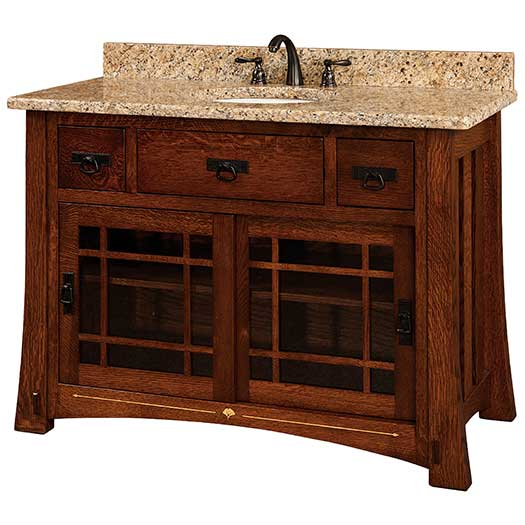 Amish USA Made Handcrafted Morgan 49 Vanity With Inlays sold by Online Amish Furniture LLC
