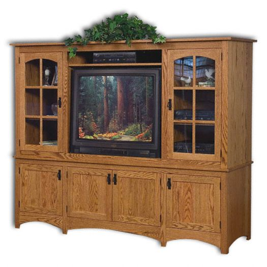 Amish USA Made Handcrafted Mission 2-Piece Entertainment Center sold by Online Amish Furniture LLC
