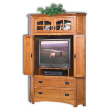 Load image into Gallery viewer, Amish USA Made Handcrafted Mission Corner Entertainment Center sold by Online Amish Furniture LLC