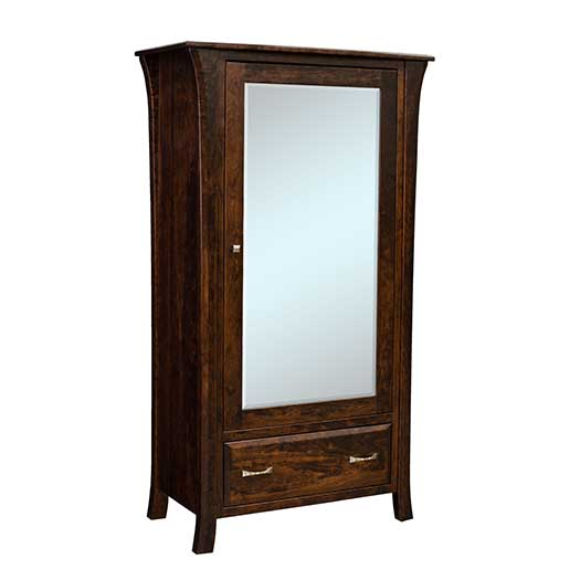 Amish USA Made Handcrafted Ensenada 1 Drawer 1 Mirror Door Armoire sold by Online Amish Furniture LLC