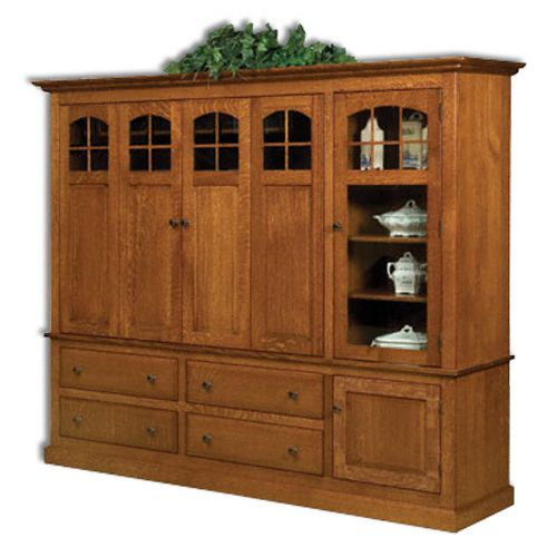 Contemporary Mission Media Cabinet With Stereo Cabinet