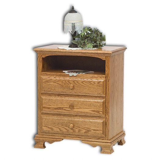 Amish USA Made Handcrafted Heritage 3-Drawer with Opening Nightstand sold by Online Amish Furniture LLC