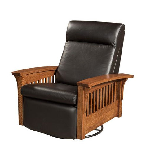 Amish USA Made Handcrafted Hoosier Glider Recliner Swivel sold by Online Amish Furniture LLC