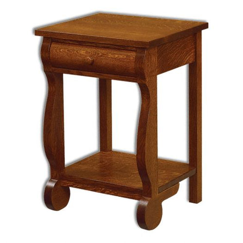 Amish USA Made Handcrafted Old Classic Sleigh Open Nightstand sold by Online Amish Furniture LLC