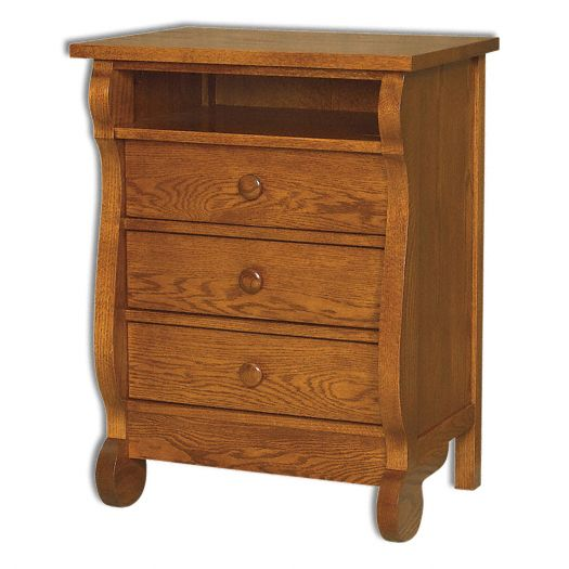 Amish USA Made Handcrafted Old Classic Sleigh 3 Drawer Nightstand w-Opening sold by Online Amish Furniture LLC
