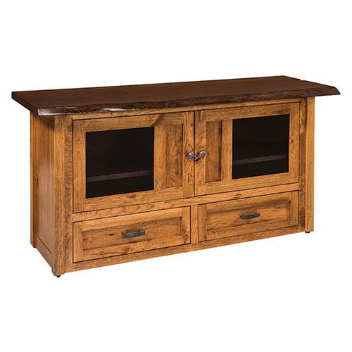 Amish USA Made Handcrafted Kalispel TV Cabinets with Live Edge Top sold by Online Amish Furniture LLC