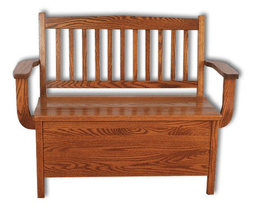 Amish USA Made Handcrafted Low Back Mission Storage Bench sold by Online Amish Furniture LLC