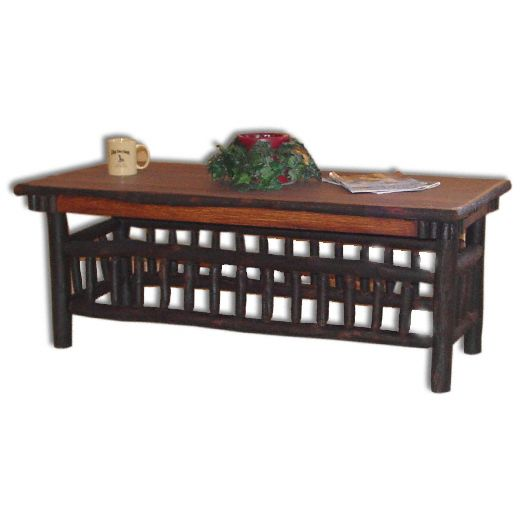 Amish USA Made Handcrafted Rustic Hickory Lumberjack Collection Coffee Table sold by Online Amish Furniture LLC