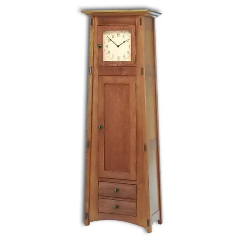 Amish USA Made Handcrafted Mccoy 1 Door-1 Drawer Storage Cabinet Clock sold by Online Amish Furniture LLC