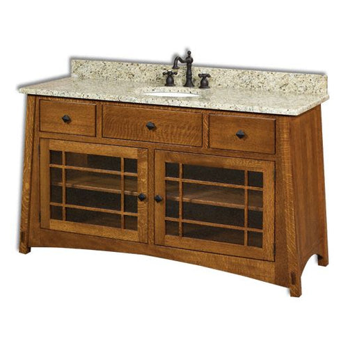 Amish USA Made Handcrafted McCoy 60 Vanity sold by Online Amish Furniture LLC