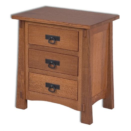 Amish USA Made Handcrafted Modesto 3 Drawer Nightstand sold by Online Amish Furniture LLC