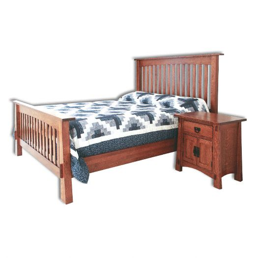 Amish USA Made Handcrafted Modesto Mission Slat Bed sold by Online Amish Furniture LLC