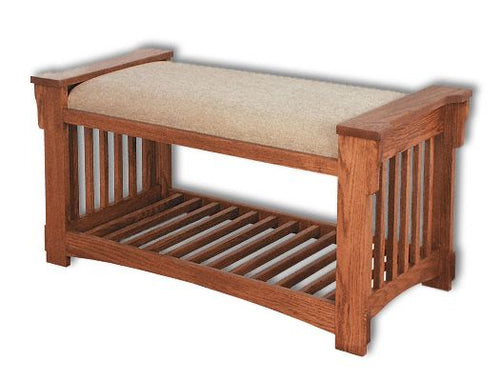 Amish USA Made Handcrafted Mission Slat Bench sold by Online Amish Furniture LLC