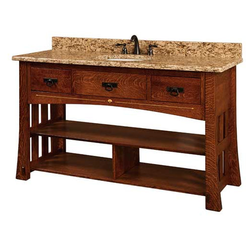 Amish USA Made Handcrafted Mesa 60 Vanity sold by Online Amish Furniture LLC