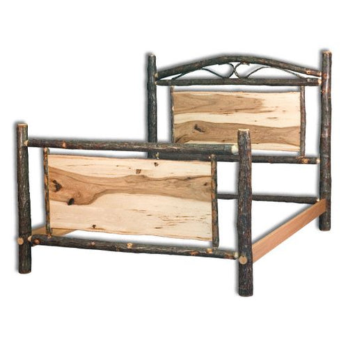 Amish USA Made Handcrafted Rustic Hickory Panel Bed sold by Online Amish Furniture LLC