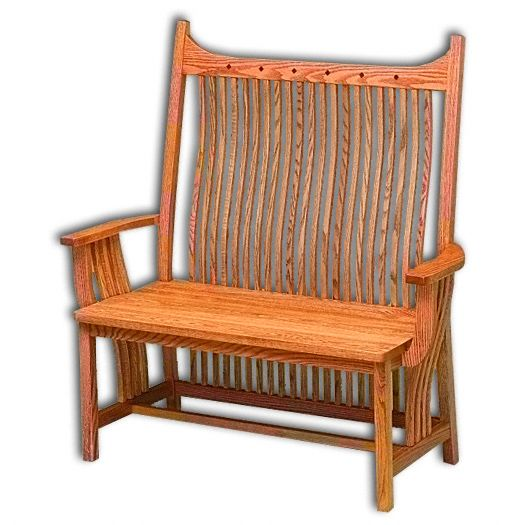Amish USA Made Handcrafted Royal Mission Bench sold by Online Amish Furniture LLC