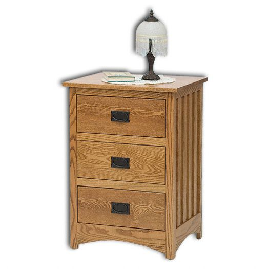Amish USA Made Handcrafted Mission 3 Drawer Deep Nightstand sold by Online Amish Furniture LLC