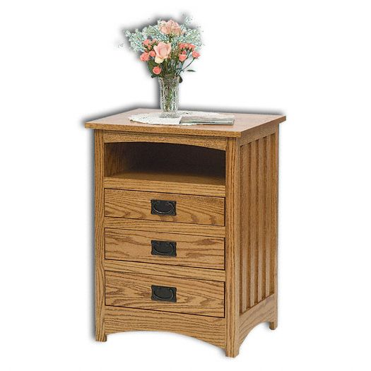 Amish USA Made Handcrafted Mission 3 Drawer Open Nightstand sold by Online Amish Furniture LLC