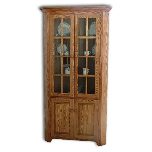 Amish USA Made Handcrafted Shaker Corner Hutch sold by Online Amish Furniture LLC