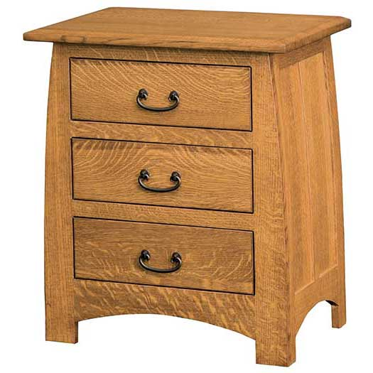 Amish USA Made Handcrafted Superior Shaker 3 Drawer Night Stand sold by Online Amish Furniture LLC
