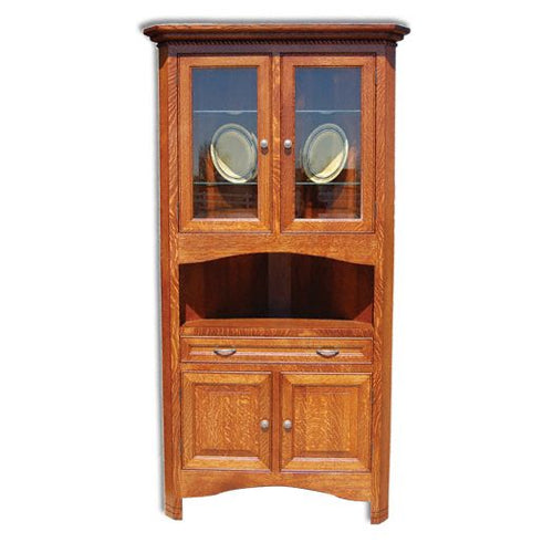 Amish USA Made Handcrafted West Lake Corner Hutch sold by Online Amish Furniture LLC