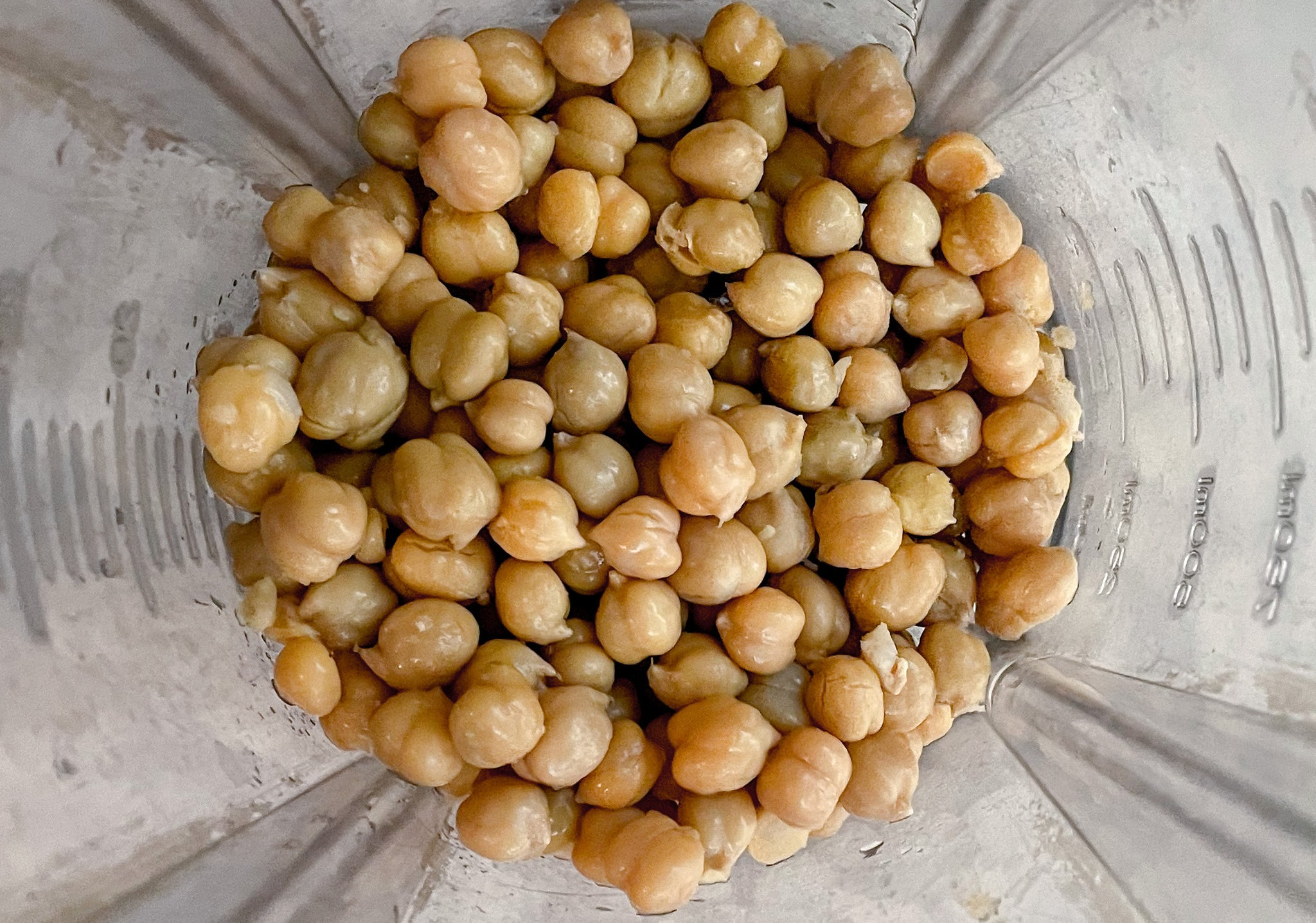 peeled chickpeas in a blender