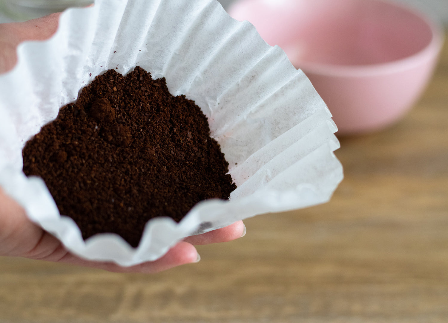 After grinding your fresh coffee beans on a coarse setting place them in a coffee filter of your choice