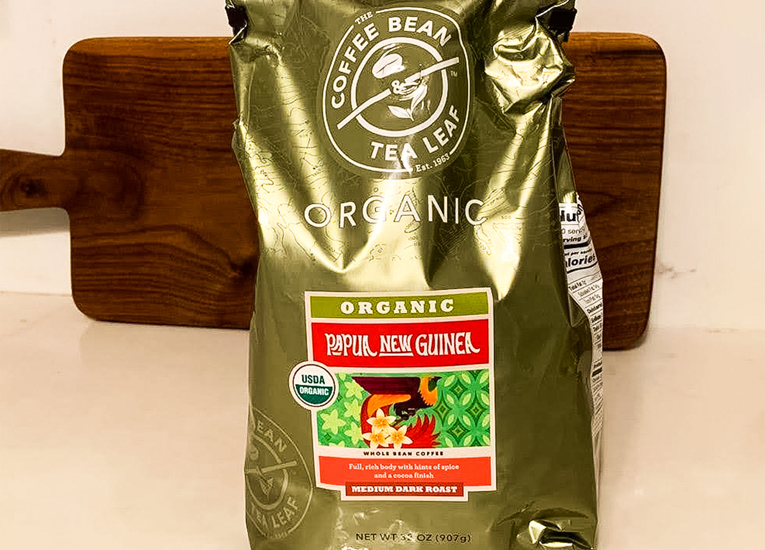 a 32 ounce bag of coffee bean and tea leaf beans that you can find at Costco