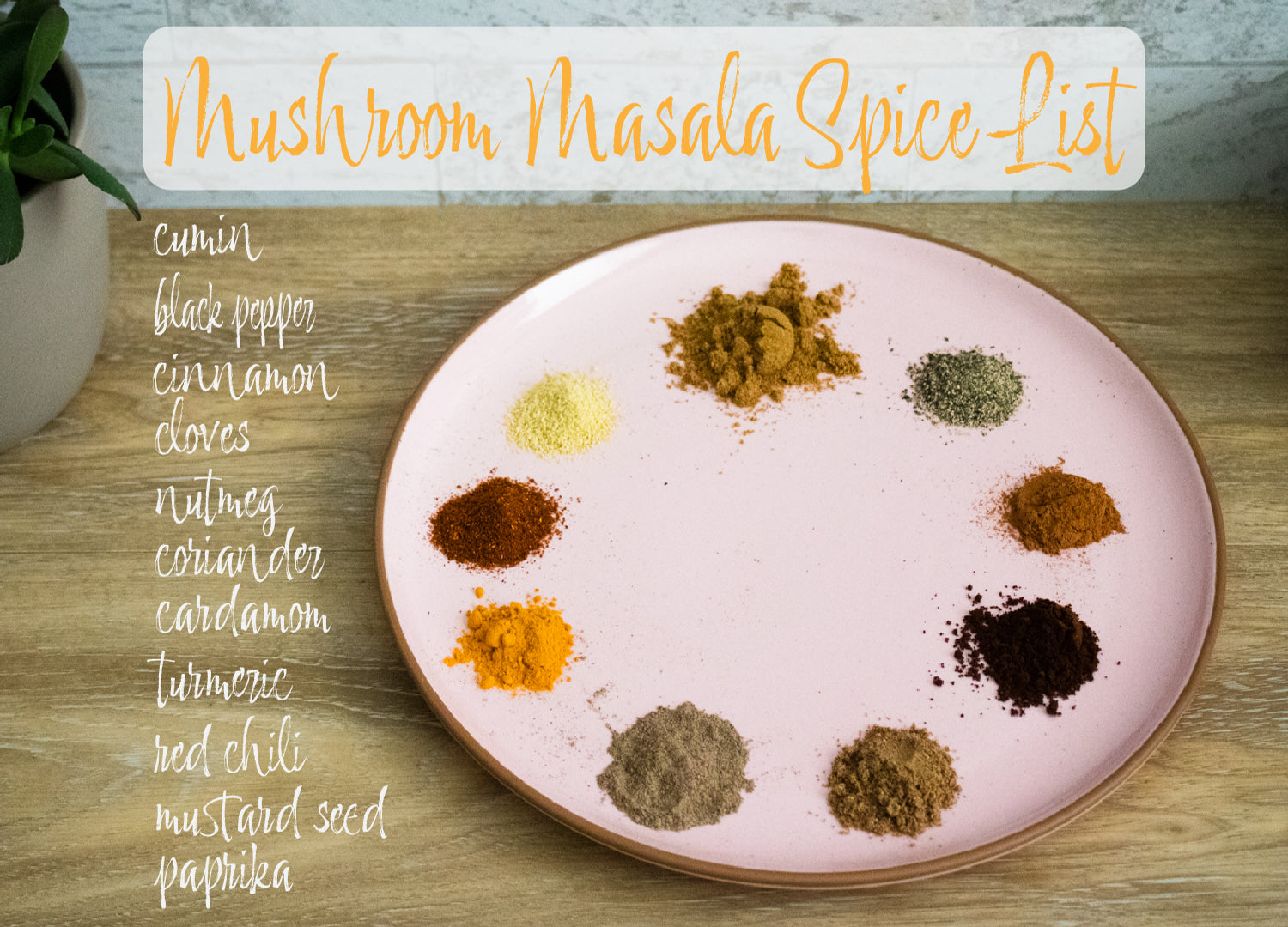 Some of the essential spices you will need to make your own masala spice blend  listed and plated on a Rose Mora Ceramics dinner plate. Cumin, coriander, cardamom, cinnamon, black pepper, cloves, nutmeg, turmeric, red chili, paprika, and ground mustard seed.