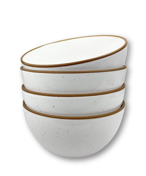4 cereal bowls in vanilla white with brown rims and speckles