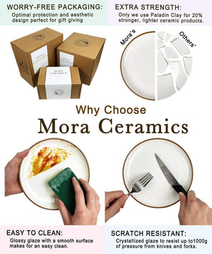 what is special about Mora Ceramics? great packaging, makes a great gift, extra strong paladin clay, easy to clean, and scratch resistant