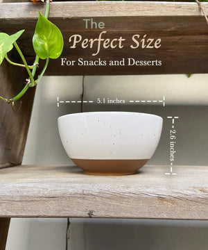 Mora Ceramics snack bowls dessert bowls are the perfect size for snacks and desserts, measurements, dimensions are 5 inches wide and 2.6 inches tall