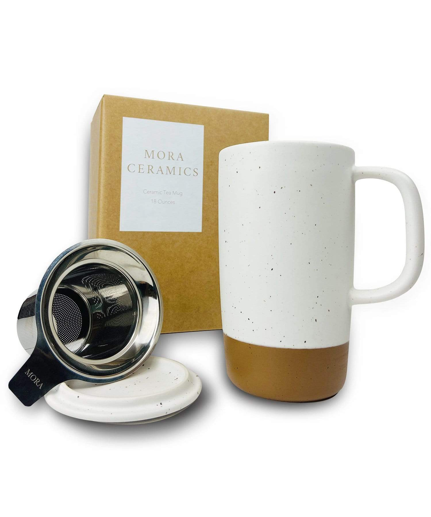 Large Tea mug with infuser and brown clay on the bottom by Mora Ceramics in cotton white