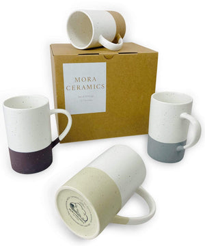 speckled coffee cups from Mora Ceramics in a set of four. colors inspired from minerals found in nature with gift box