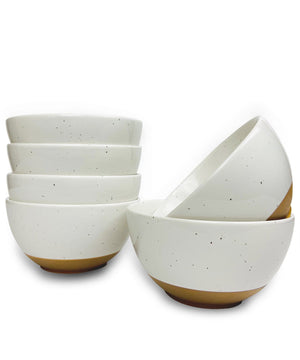 Mora Ceramics dessert snack bowls with brown clay at the bottom and speckles in vanilla white