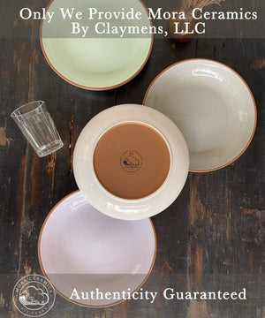 Mora Ceramics authentic pasta bowls by Claymens, LLC with Mora Ceramics logo