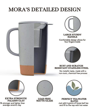 Mora Ceramics detailed design, tea mug with large sturdy handle, stainless steel filter, extra strength paladin clay, lead free matte glaze