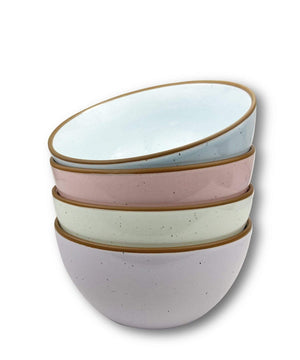4 cereal bowls in pastel green, blue, purple and pink with brown rims
