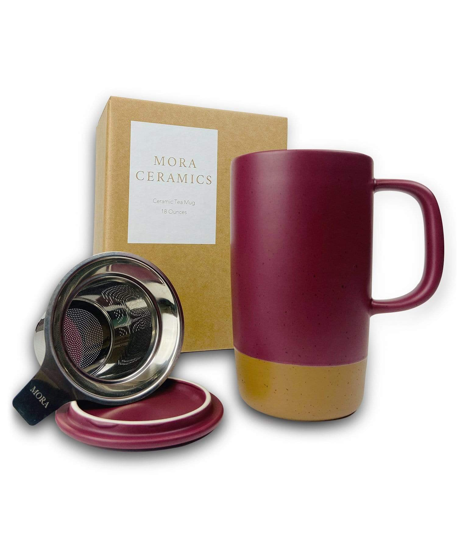 Large Tea mug with infuser and brown clay on the bottom by Mora Ceramics in merlot red maroon