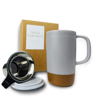 Large Tea mug with infuser and brown clay on the bottom by Mora Ceramics in sleet grey with gift box