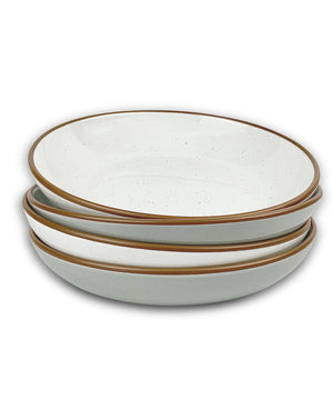 pasta bowls with brown rim and speckles in gray and white