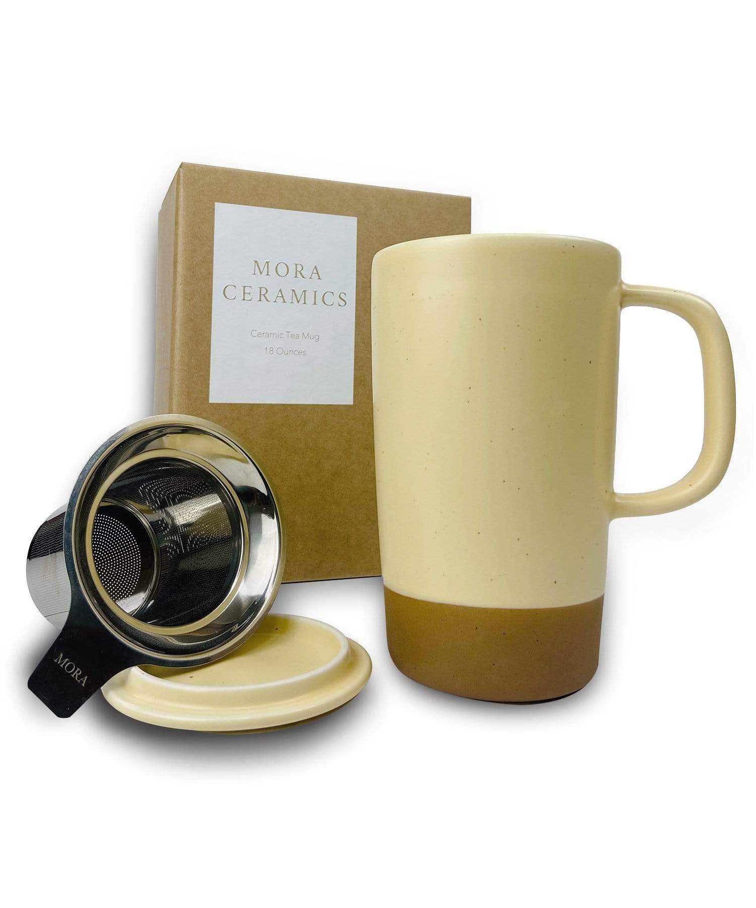Large Tea mug with infuser and brown clay on the bottom by Mora Ceramics in almond yellow