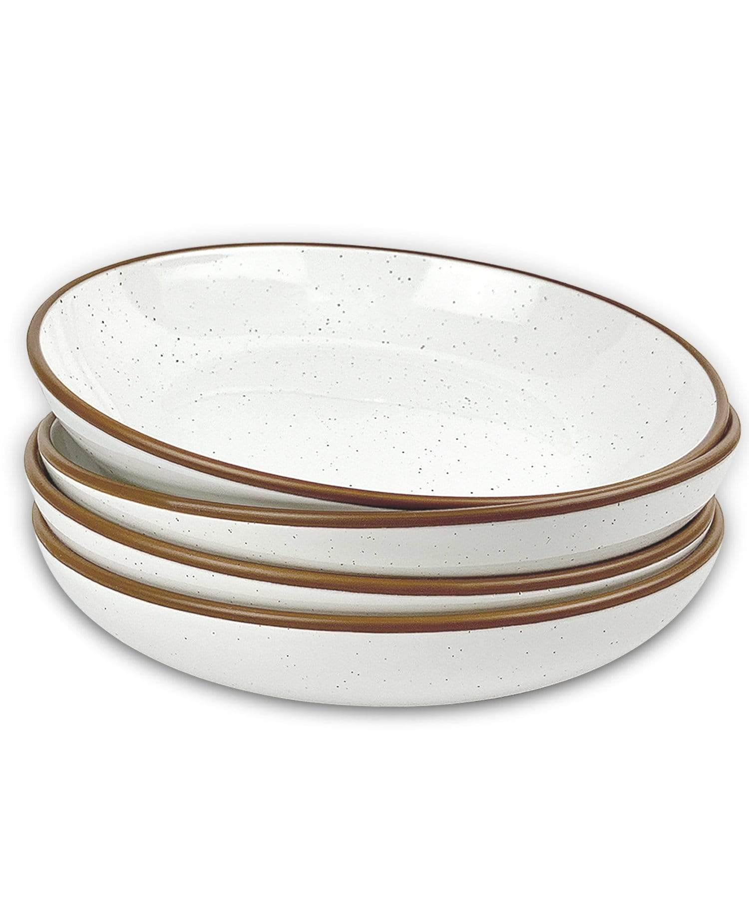 pasta bowls with brown rim and speckles in vanilla white