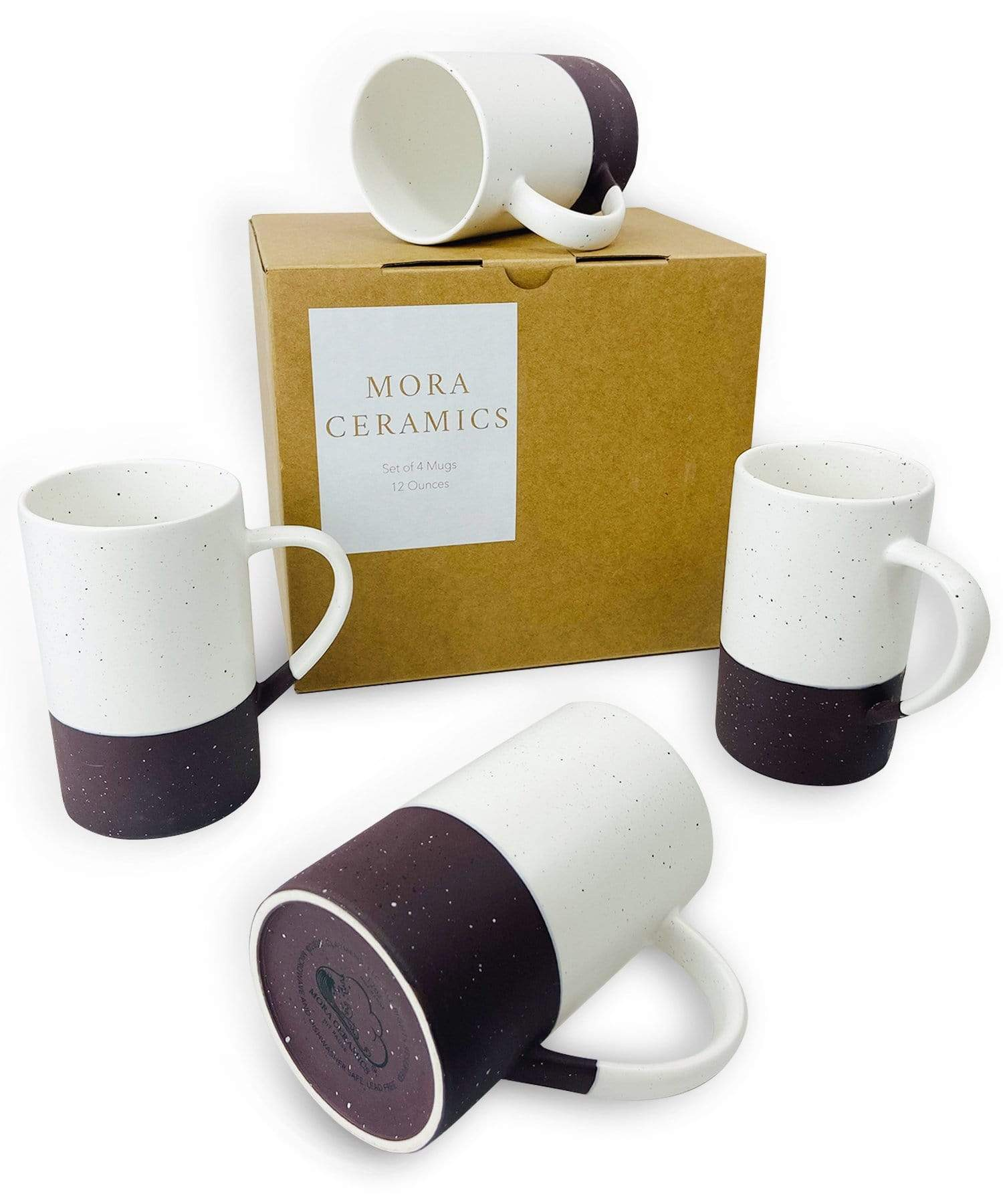 Mora Ceramics coffee mug set of four in garnet, dark purple, black, speckled minimalist style