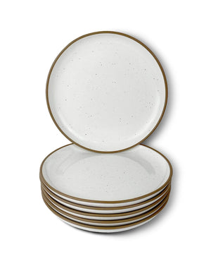 Mora Ceramics salad dessert plates in vanilla white with brown rim and speckles