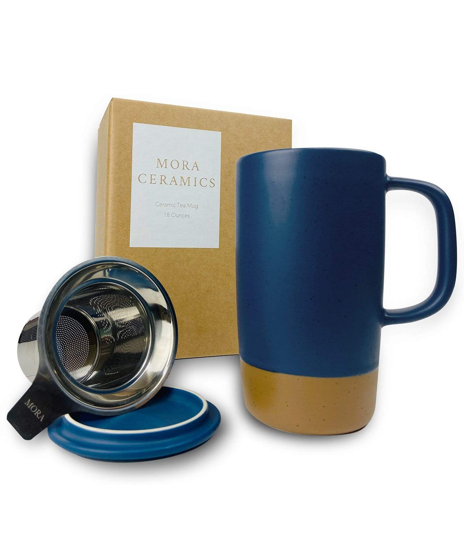 Large Tea mug with infuser and brown clay on the bottom by Mora Ceramics in deep blue