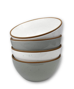 4 cereal bowls in earl grey and cotton white with brown rims